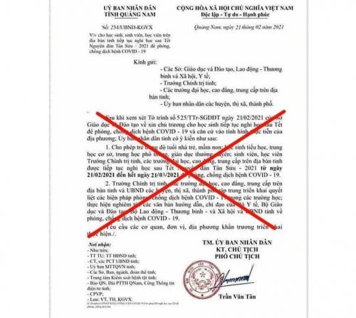 Giả công văn của UBND tỉnh cho học sinh Quảng Nam tiếp tục nghỉ học vì Covid-19